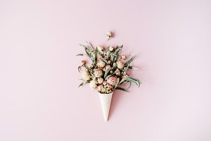 Cone with roses bouquet