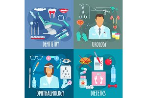 Dentistry urology dietetics icons