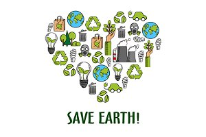 Eco friendly heart icon