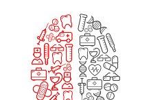 Medical icons shaped as human brain