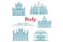 Italy landmarks icons