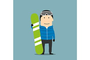 Cartoon smiling snowboarder