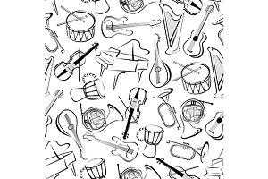 Outlined musical instruments pattern