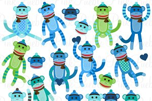 Baby Boy Sock Monkey Clipart/Vectors