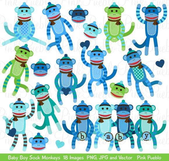 Baby Boy Sock Monkey Clipart/Vectors ~ Illustrations on Creative ...