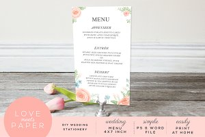 Wedding Menu Watercolor M1019