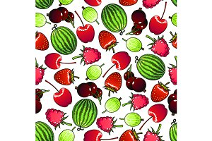 Seamless flavorful berries pattern