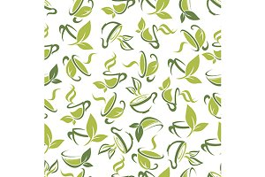 Herbal tea seamless pattern