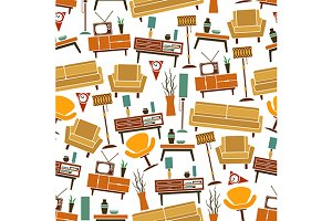 Retro furniture seamless pattern