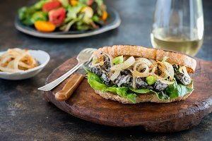 Sandwich with mushrooms, sour cream and onion