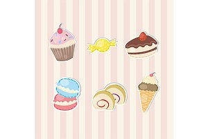 Cartoon sweet and candy sticker icon