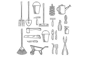 Gardening hand tools sketches