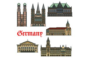 Colorful Germany landmarks icons
