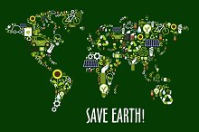 Save earth design with map