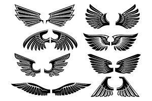 Heraldic wings of angel