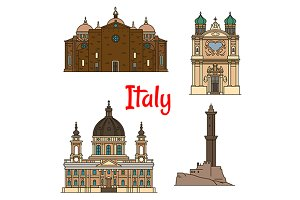 Travel landmarks of Italy