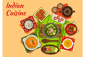 Indian cuisine menu dishes