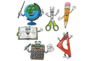 School supplies characters