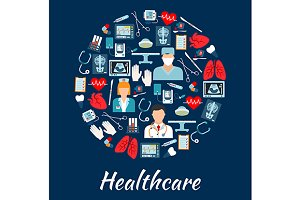 Healthcare icons shape