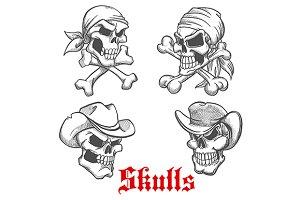 Sketched dangerous skulls