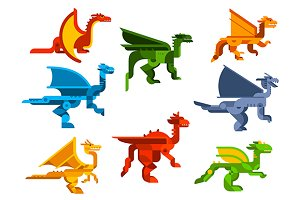 Cartoon flat dragons and dinosaurs
