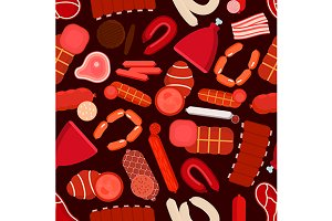Meat and sausages seamless pattern