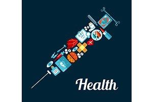 Healthcare syringe symbol