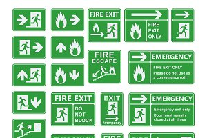 Exit sign vector set isolated