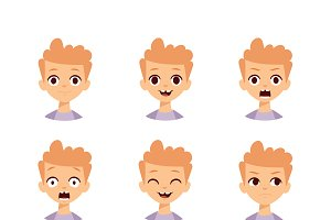 Boy emotions face vector