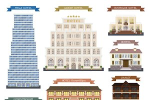 Hotel buildings vector illustration