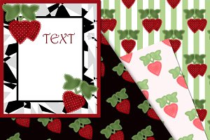 A set of digital paper Strawberry.