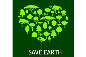 Green heart with tree silhouettes