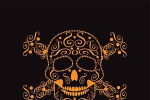 Skull and crossbones orange