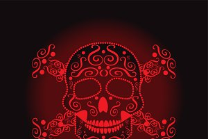 Skull and crossbones red