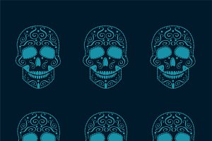 Skull icons pattern blue