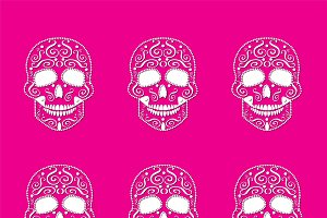 Skull vector pattern pink color