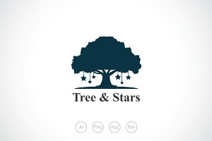 Tree & Stars Logo Template
