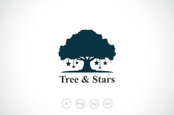 Tree & Stars Logo Template