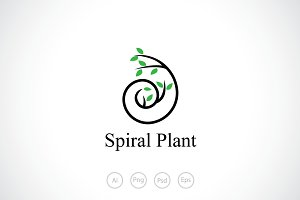 Spiral Plant Logo Template