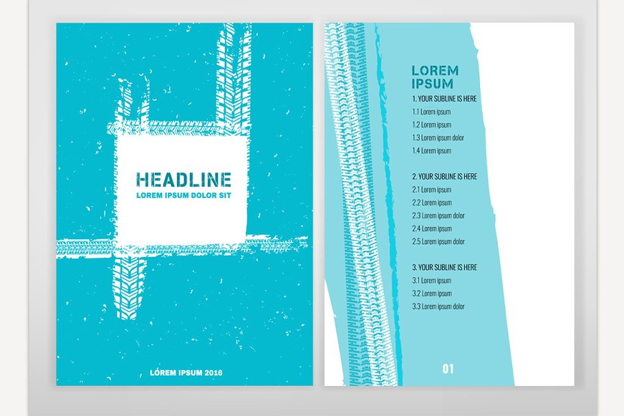 Grunge Tire Brochure in Illustrations - product preview 8