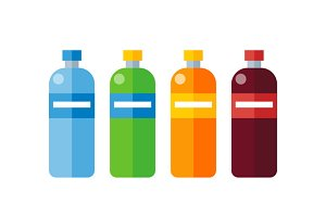 Different Colored Plastic Bottles
