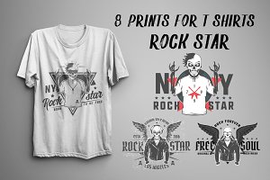 Set of prints for T-Shirts Rock Star