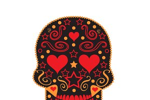 Skull vector ornament with heart eye