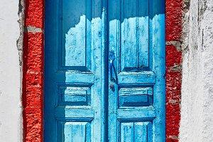 Old blue door in Santorini, Greece