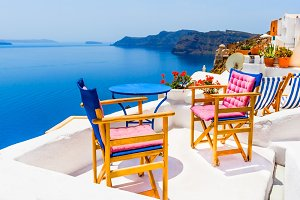 Terrace in Santorini, Greece
