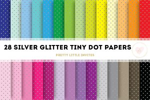 Silver Glitter Tiny Dot Papers