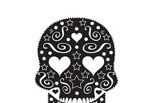 Skull ornament with heart eyes