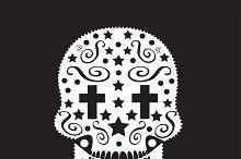 Skull ornament with cross eyes