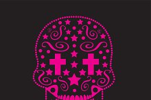 Skull ornament with cross eyes pink