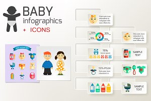 Baby infographics and vector icons